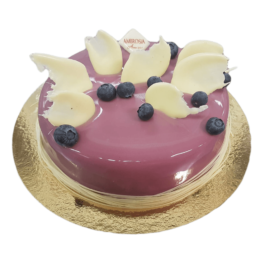 Blueberry mousse ice skating cake