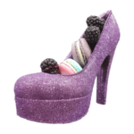 chocolate shoes purple with macaroon1