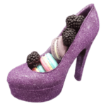 chocolate shoes purple with macaroon2