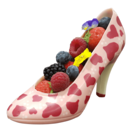 chocolate shoes with red hearts and fruits1