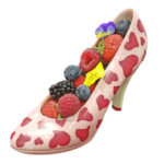 chocolate shoes with red hearts and fruits2